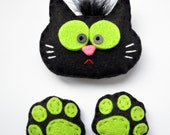 Felted fridge magnet, cat, black cat, cat footprint