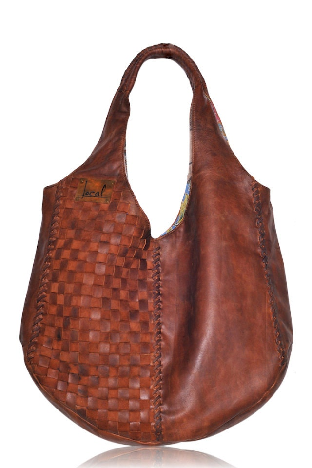 BELLA. Brown leather hobo bag / leather tote bag / oversized