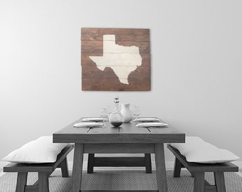 Rustic Texas Wall Art, State Sign, Home Decor, Map Art, Wedding & House Warming Gift