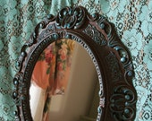 Vintage Oval Wall Mirror Ornate Brown with Teal Hand Painted Hollywood Regency Victorian