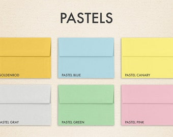 A6 Invitation Envelopes (4 3/4 x 6 1/2) - Pastels - Pick A Color - Quantity of 50