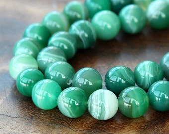 Striped Agate Beads, Green, 10mm Round - 15 inch strand - eGR-AG5825-10