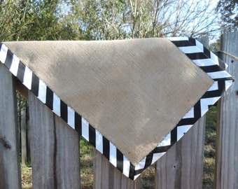 Reversible Chevron and Burlap Tablerunner- 2 style options