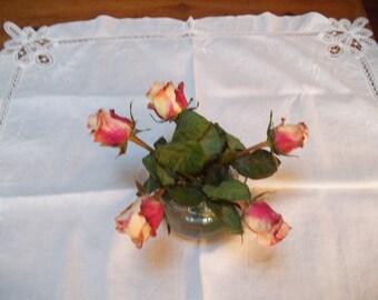 vintage wedding cake lace tablecloth, battenberg square cotton table cover, vintage wedding decor, vintage linens,  cottage lace