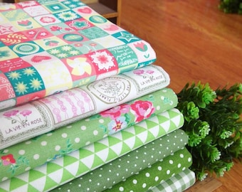 7 pieces Green Group Series Color collection Cotton Cloth  Quilt Fabric-DIY Handmade Fabric Cloth