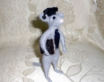 Little Mouse Student - OOAK - Needle Felted - Woolen Miniature Sculpture
