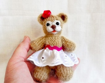 Miniature Soft Plush Teddy Bear- Hand Knit Toy - OOAK