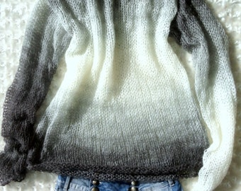 Women Sweater Grunge Sweater with Long Sleeves in Watercolor Shades