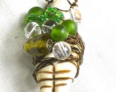GODDESS PENDANT-RADIANT Peridot --Bottle Green Glass-Silk Sari Ribbon--Handmade-Artistic Wire-Wrapped-Outstanding Statement