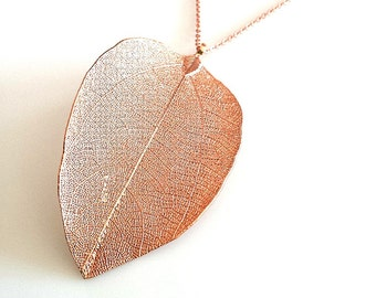 "Autumn Leaf Long Necklace - 26"" - Rose Gold Chain Necklace ,Real Leaf pendant necklace, Rose Gold Neckace, Long Necklace"