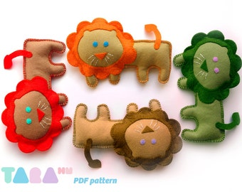DIY Felt Lion, Fabric Lion, PDF Sewing Pattern, Instant Download TaraLion, Felt Animal Tutorial, Animal Pattern, Lion Sewing Toy Pattern