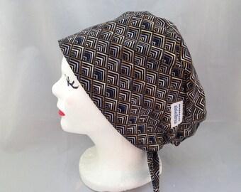 Scrub Hat Tie Back Pixie Style Black with Geometric design