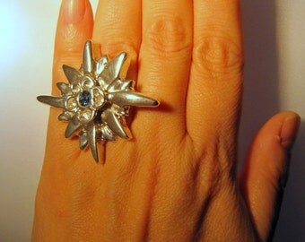 Aquilegia flower silver and topaz ring