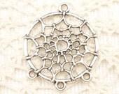 Antique Silver Dream Catcher Charms Pendants (4) - S175