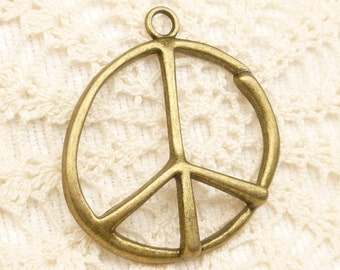 Large Antiqued Bronze Tone Rustic Peace Symbol Pendants (2) -