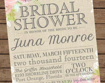 Burlap and Lace Floral Bridal Shower Invitations