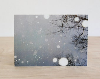 Winter holiday card set, blank note card card 4-pack, unique winter snow landscape photography