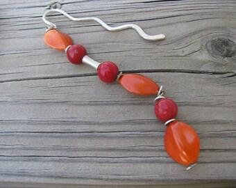 JEWELRY SALE- Beaded Bookmark Red, Orange, Silver