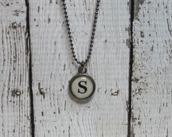 Initial S Charm Necklace, Vintage Style Typewriter Key Charm, Mini Initial Charm Necklace, Letter S on Ball Chain