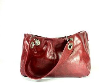 Large Red Vegan Leather Shoulder Bag - Oxblood Hobo Bag - Huge Bucket Bag