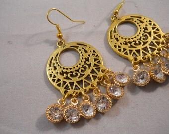 Gold Ton Chandelier Earrings with Clear Rhinestone Dangles