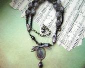 Instant Ancestor, vintage photo, photo jewelry, rhinestone jewelry,  sepia tone, pearl jewelry, handmade jewelry, romantic, anvilartifacts