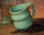 Pottery Handmade Stoneware Green Coffee Mug