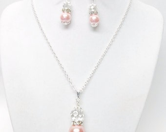 16mm Vintage Rose Glass Pearl w/ Swarovski Crystal Rondelle Pendant Necklace & Earrings Set