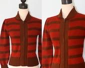 Vintage 1970s Retro Sweater / 70s Brown Orange Stripe Sweater with Zipper / Acrylic Knit Fall Autumn  Sweater / Size
