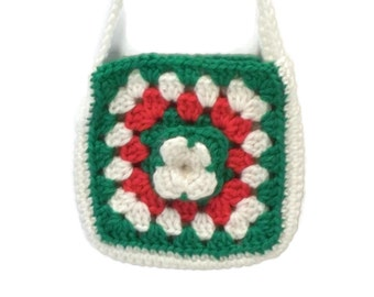 Childs Purse, Crochet Child Purse, Red, Green, White