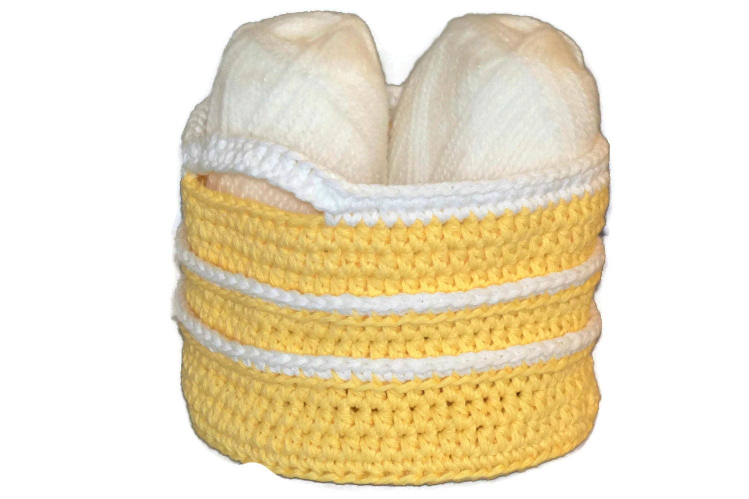 Knitting Basket With Handles : Crochet basket with handles yellow white