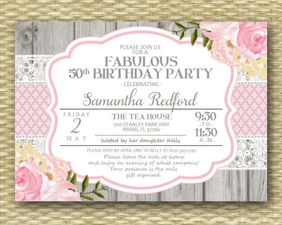 50th Birthday Invitation 50 and Fabulous Shabby Chic Rustic Lace Pink Roses Peonies Floral ...