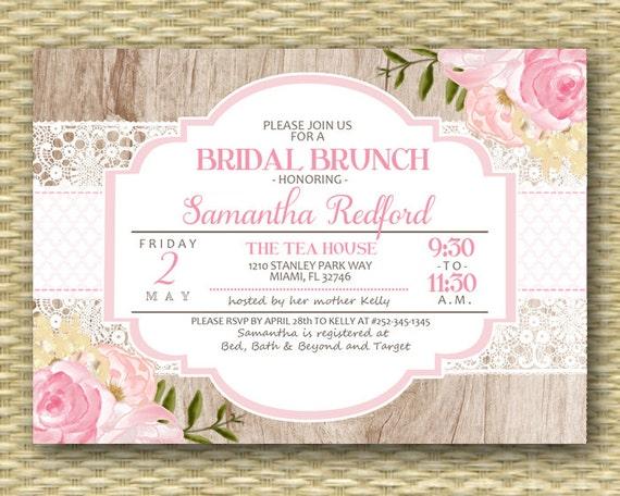 Bridal Brunch Invitation Pink Floral Shower Invite Rustic