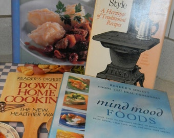 4 very nice cookbooks   One Potdown Home Cooking Texas Style and Mind Mood foods
