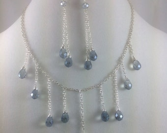 Crystal Necklace and Earring Set, Silver Plated, choker, Statement  Necklace,