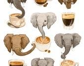 Fine Art Print - Elephants and Espresso