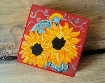 Mounted Sunflower Print - Rustic Boho Decor - Colorful Folk Art Flowers - 4 x 4 Autumn Wall Art  - Orange Red Yellow Farmhouse Decor