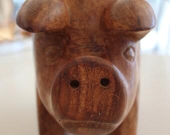 Vintage Hand Carved Maple Wood Pig...OINK OINK