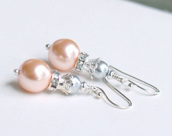 SALE Peach and Gray Pearl Earrings - Peach Bridesmaid Earrings - Silver Pearl Earrings - Wedding Earrings, Peach Gray Bridesmaid Gifts