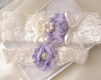 Wedding Garter and Toss Garter - Lavender/Ivory Garter Set with Pearl & Rhinestone Style# KG0045