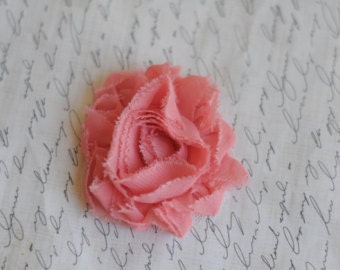 "ON SALE Coral Hair Flower -  Flower Clip - 2 1/2"" Frayed Chiffon Flower - Shabby Chic Hair Flower - Hair Clip or Brooch"