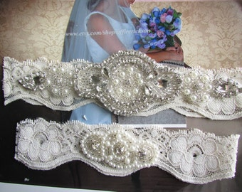 SALE - Wedding Garter Set - Pearl and Rhinestone Garter Set on a Ivory Lace Garter Set with Pearl & Rhinestone