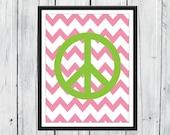 Teen Room Decor -  Peace Sign   Chevron Background - Custom Colors & Size