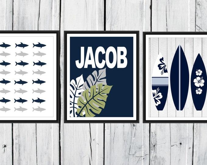 Shark Nursery Decor - 3 Print Set -  Nautical Children's Teen's Room Decor - Surfboard Print - Custom Colors