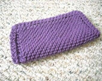"Cotton Dish Cloth - Hand Knit - Bright Purple - Mix-N-Match - Medium 8"" Square"