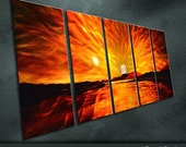 "Original Metal Wall Art Modern Painting Sculpture Indoor Outdoor Decor ""Sunrise"" by Ning"