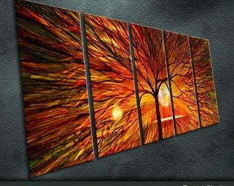 "Original Metal Wall Art Modern Abstract Painting Sculpture Indoor Outdoor decor ""Sunshine"" by Ning"