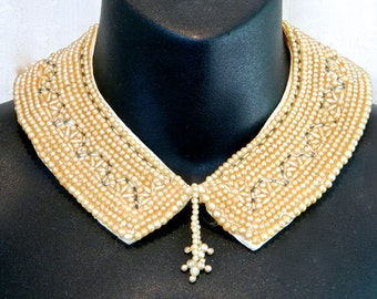 Vintage Faux Pearl Collar Necklace 1950s Pearls and Long Crystal Beads Tassel Hand Made Japan