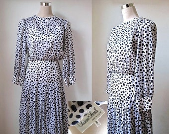 Vintage Dress - Susan Small - 70s 1970s Dress - Monochrome Black And White - Midi Dress