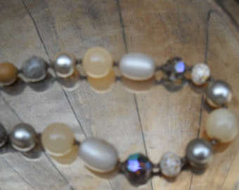 Vintage Necklace, Mixed Beads in Natural Colors, Beautiful